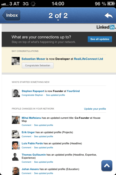 LinkedIn: Profile Changes
