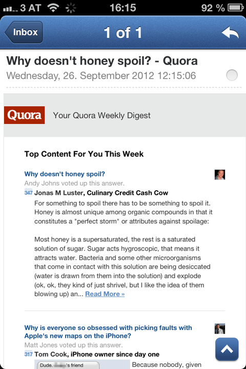 Quora: Why honey doesn't spoil